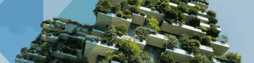 Building with trees that helps to reduce co2 and carbon footprint