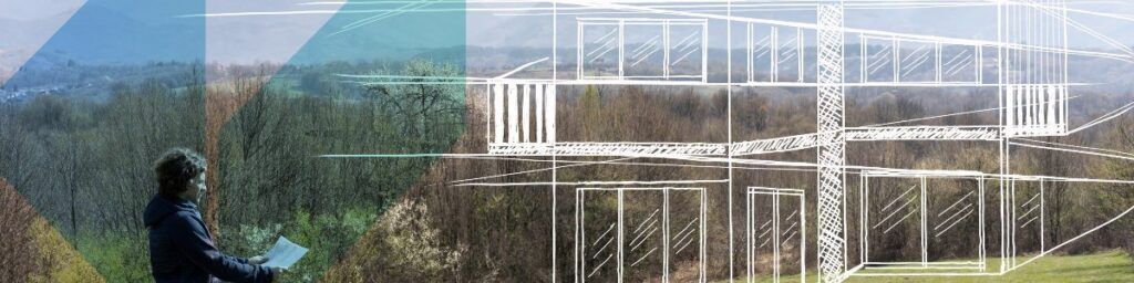 drawings of a concept building over a landscape