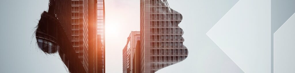 Head silhouette and innovative buildings
